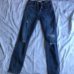 Mended Blue Ripped High Rise Skinny Jeans